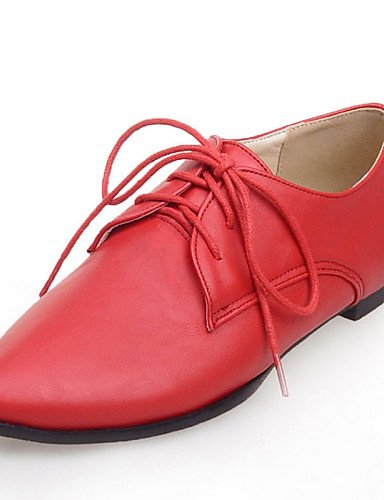 Oxford 5 Verde a Eu41 Uk7 Casual Rosso 10 Vestito Shoes Hug 5 8 Cn42 Comfort Rosso punta us9 Njx Heel Donna Flat Grigio Similpelle fx1wOXqx