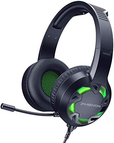 Phenom EXPO3 ステレオゲーム用ヘッドセット PS4 PC タブレット スマートフォン用 ノイズキャンセリングヘッドホン ブームマイクとLEDグローライト付き グリーン MI-H003G