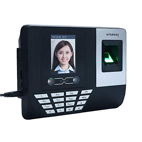 Aibecy Face Fingerprint Password Attendance Machine Employee Checking-in Payroll Recorder 2.8 inch LCD Screen DC 5V Facial Recognition Time Attendance Clock (A)