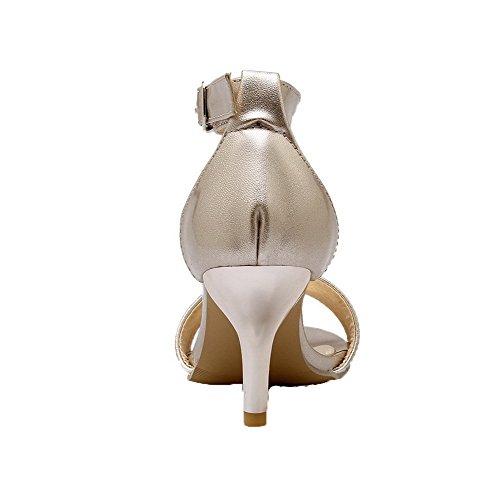 AalarDom Mujer Puntera Abierta Sólido Hebilla Sandalias de vestir Gold