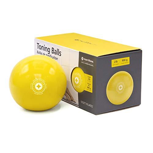 STOTT PILATES Toning Ball, Two-Pack (Lemon), 2 lbs / 0.9 kg Each