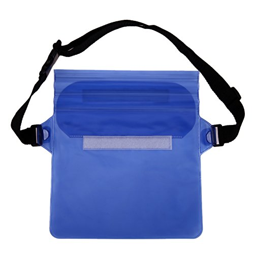 TTnight New Arrival Cool Waterproof Tri-Layer Sealing Plastic Storage Shoulder Wrist Bag for Water Sports (Blue)