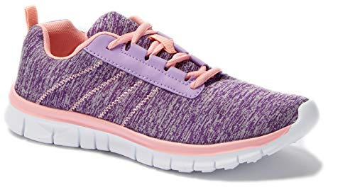 Womens Sneakers Athletic Knit Mesh Running Light Weight Go Easy Walking Casual Comfort Running Shoes 2.0 (7, Purple/Pink F9211)