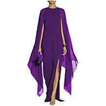 Clubdeer Women's Elegant Silk Flare Chiffon Sleeve High Split Formal Evening Gown Maxi Dress with Cape