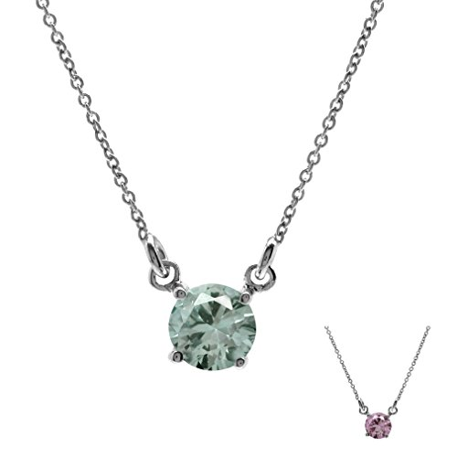 Simulated Color Change Alexandrite 925 Sterling Silver Pendant w/16-18 Inch Adj. Chain Necklace