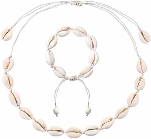 e1fd3ddc2 ASELFAD Natural Shell Choker Necklace and Bracelet Set Adjustable Handmade  Cowrie Shell Boho Beach Jewelry for