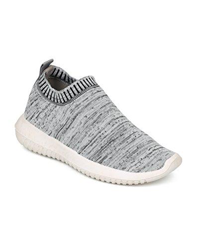 Alrisco Femme Tissu Bas Top Chaussette Jogger Sneaker - Hf89 Par Wild Diva Collection Gris