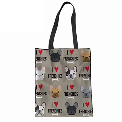 FOR U DESIGNS Canvas Tote Bag for Women French Bulldog Printed Handbag Travel Beach Shoulder Bags