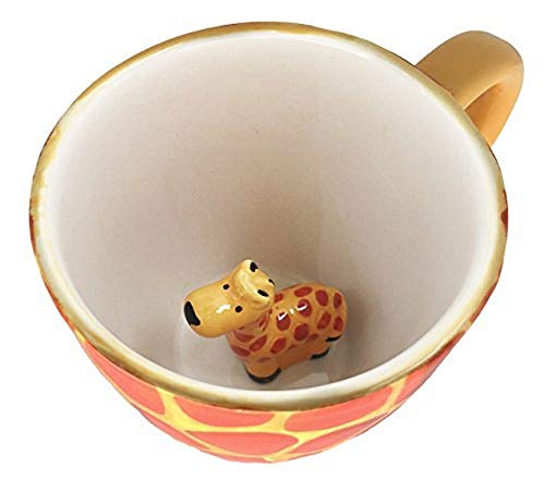 World Market Giraffe Coffee Mug - Comes with a Surprise Baby Giraffe Inside - Creative Art Morning Mug Animal Cup for Hot and Cold Tea Milk Coffee - Perfect for Camping or Decorations for Jungle Event (Coffee Animal Cups)