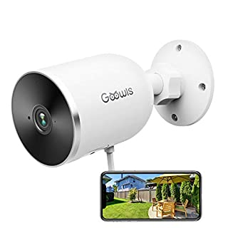 Goowls Security Camera Outdoor 1080P HD WiFi Wired IP Camera for Home Security Surveillance 2-Way Audio Night Vision Motion Detection Compatible with Alexa Cloud Storage and MicroSD Support