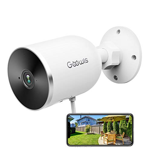 Security Camera Outdoor, Goowls 1080P HD 2.4G WiFi Home Surveillance Camera Plug-in with Waterproof Night Vision 2-Way Audio Motion Detection Cloud Service Compatible with Alexa