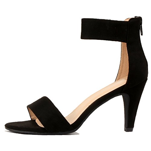 Womens Classic Comfort Sexy Open Toe Mid Heel Ankle Strap Dress Stiletto Heeled-Sandals, Black Suede, 7.5