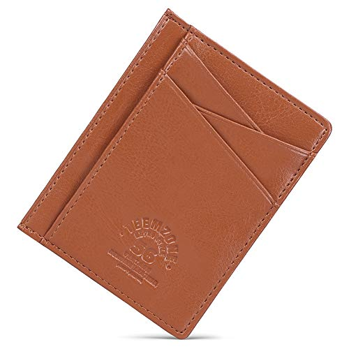 Teemzone Minimalist RFID Mens Slim Wallet Genuine Leather Pocket Credit Card Case Holder (Napa Brown)