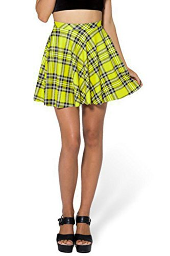 ASHER FASHION Womens Summer Plus Size Stretchy Plaid Print Pleated Mini Skirts(Medium, Yellow)