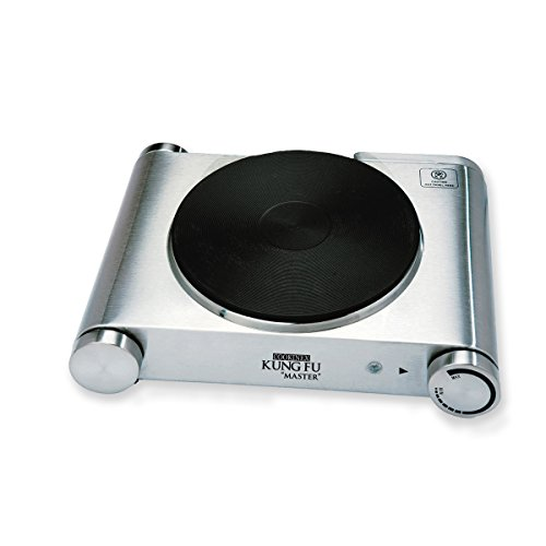 Home N Kitchenware Collection Electric Single Hot Plate Burner (1500W), Stainless Steel, Cast Iron Plate, Premium Portable Electric Stove, Adjustable Temperature, Rubber Feet