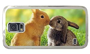 Hipster Samsung Galaxy S5 Cases rugged Rabbits Kiss PC Transparent for Samsung S5