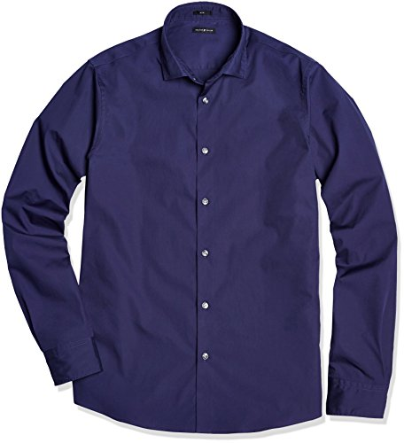 Crafted Collar Men's Slim Fit Spread Collar Solid Business Casual Shirt