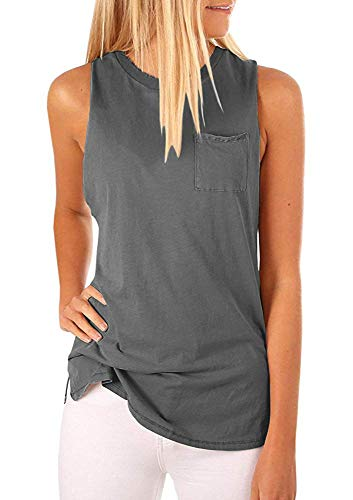 Hount Women's Tank Tops Loose Fit Sleeveless Tshirts for Women Loose (Gray, -