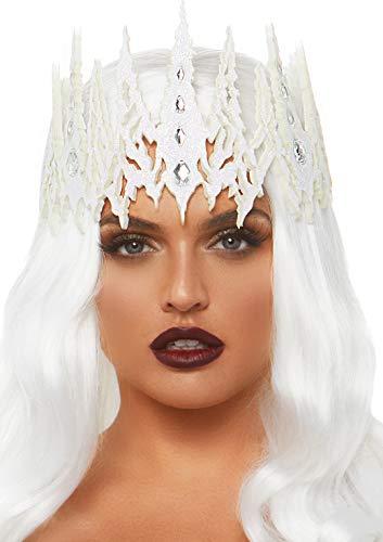 Leg Avenue Women's Glitter Jeweled Crown, White,