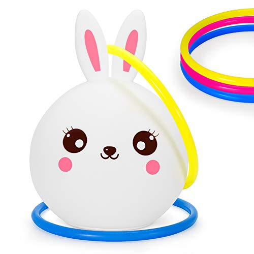 Kids Bunny Night Light Toss Game Set, Portable Touch Sensor Color-Changing LED Rabbit Lamp + 5 Ring Quoits, Double Fun for Bedside Décor, Baby Shower, Birthday Party, Picnics, BBQs, Garden Playtime