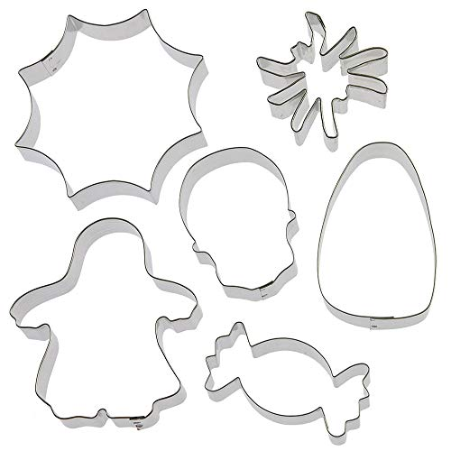 Trick Or Treat Cookie Cutter 6 Pc Set HS0432-4 in Candy Corn, 4.5 in Spider Web, 3 in Spider, 3.25 in Piece of Candy, 3.25 in Skull, 4.25 in Ghost Trick-or-Treater - Foose - USA Tin Plate Steel