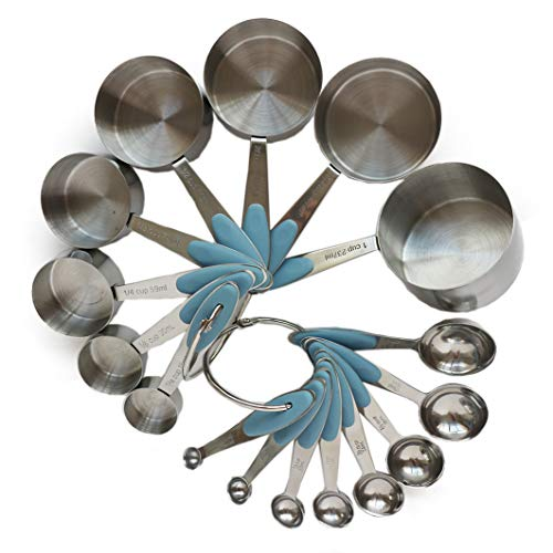 Smithcraft 18/8 Stainless Steel Measuring Cups and Spoons Complete Set of 16pcs with Silicone Handles Professional Measurer Scoops Ingredients Liquid or Dry Heavy Duty Solid Measurment Cup Color Blue