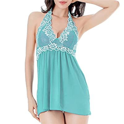 TGD Women's Lingerie Lace Babydoll Set Sexy Sleepwear Nightwear and G-string