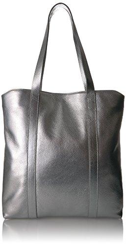 (The Fix Preston Leather Travel Tote Bag, silver/metallic)