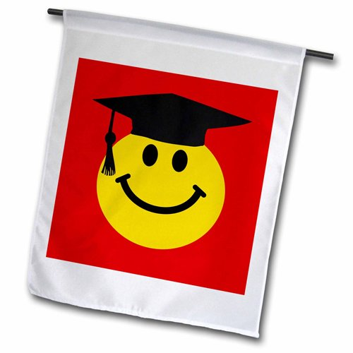 3dRose fl_123166_1 Graduate Smiley Cartoon Graduating Happy Face with Black Grad Hat Garden Flag, 12 by 18