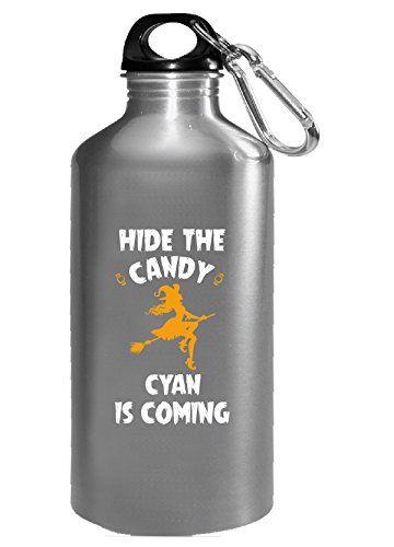 Hide The Candy Cyan Is Coming Halloween Gift - Water Bottle