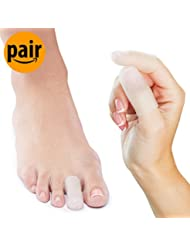 NatraCure Gel Toe/Finger Cap and Protector - 1 Pair - (Size: Small/Medium) - Helps Cushion and Reduce Pain from Corns, Blisters, Hammer Toes, and Ingrown Nails
