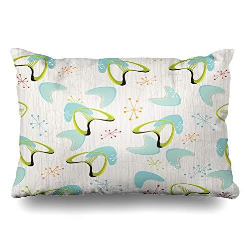 Ahawoso Throw Pillow Cover Queen 20x30 Dots Red Modern Retro Bark Boomerangs Pattern Vintage Yellow Atomic Stars 50S Zippered Cushion Pillow Case Home Decor Pillowcase