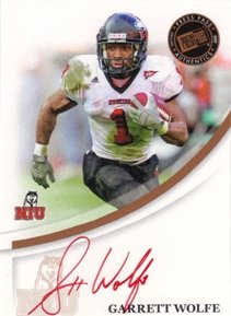 2007 Press Pass RC Autograph Bronze Red Ink #68 Garrett Wolfe/584 RC AUTO NFL Footballl Trading Card