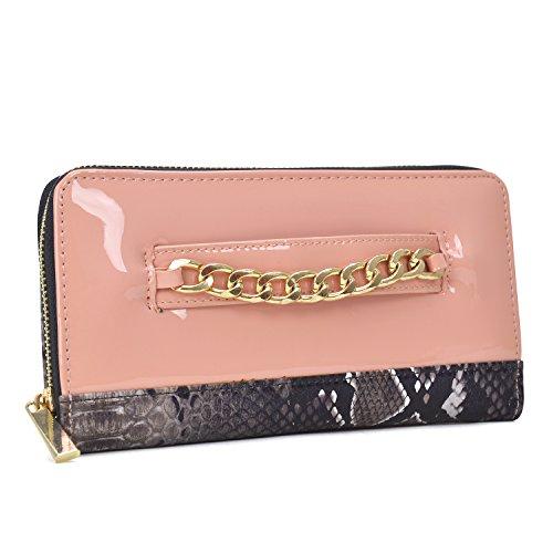 Snakeskin Lined Clutch (Dasein Women's Fashion Wallet Patent Leather Clutch Wallet Card Holder Organizer Ladies Purse (1-snake skin-pink))