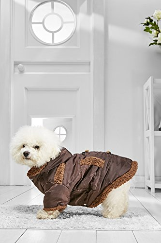 Cheap Bearded Costumes (Small Dog Hooded Winter Coats for Bichon Frise Dachshund Mini Schnauzer Havanese (Medium Size, brown))