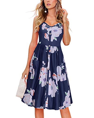 KILIG Women's Summer Floral Dress Spaghetti Strap Button Down Sundress with Pockets(Floral-K, XL)