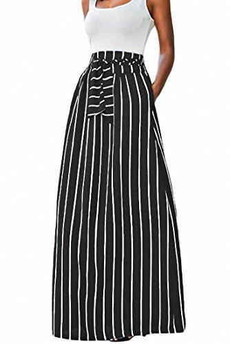 Elisan Women's Vertical Striped Long Skirts Full Length Elastic Waisted Maxi Skirt With Pocket