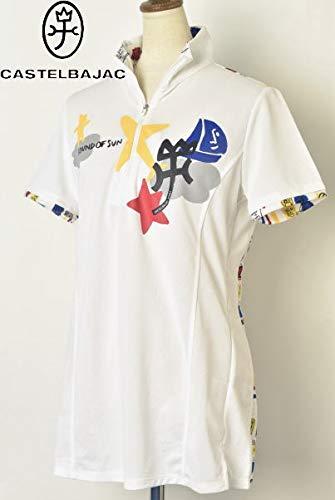 [カステルバジャックスポーツ] ゴルフ 半袖ハーフジップシャツ トップス レディース M(40) ホワイト(01) B07Q6C4RCZ