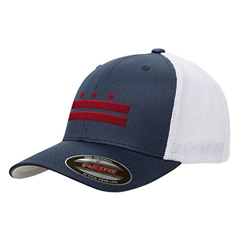 Washington D.C. Flag Mesh Snapback Premium Yupoong Adult Retro Trucker Cap Hat 6511 (Navy/White)