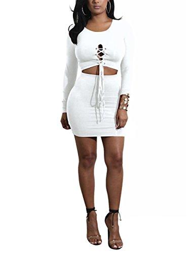 Zantec 2PCS Frauen beiläufige Kleidung stellten Rundhals Langhülse T Shirt u. Bodycon Rock Kleid Valentinstag Geschenk ein Schwarz SUAheslo