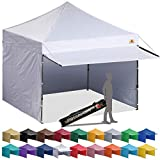 ABCCANOPY 10x10 Pop up Canopy Tent Instant Shelter Commercial Portable Market Canopy with Full Walls & Awnings & Wheeled Bag Bonus 4 Weight Bag
