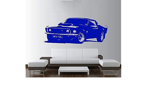 Ajcwhml Ford Mustang Extraíble Vintage Gran Coche Etiqueta de La Pared Etiqueta Vinilos Art Decoración del Hogar Dormitorio Mural de Papel Calcomanía 42X110 cm: Amazon.es: Hogar