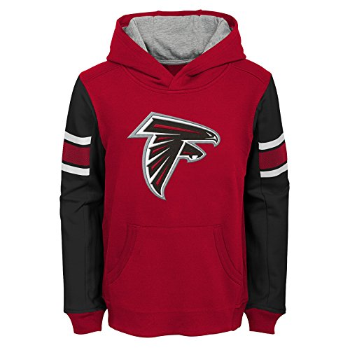 (NFL Atlanta Falcons Kids & Youth Boys Man in Motion Color Blocked Pullover Hoodie, Crimson, Kids Medium(5-6))