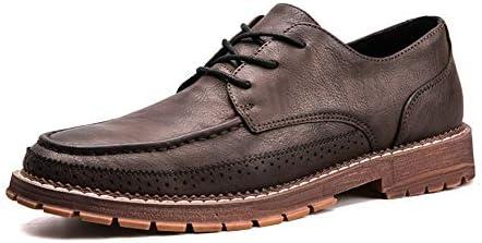 男性用本革ビジネスドレスウェディングパーティーファッションローファーソリッドロートップ滑り止めフラットレースアップラウンドトゥ作業靴 快適な男性のために設計
