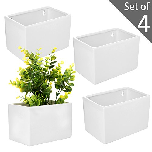 Planter Set Box - MyGift Modern White Ceramic Wall Hanging Succulent & Herb Planter Box, Set of 4