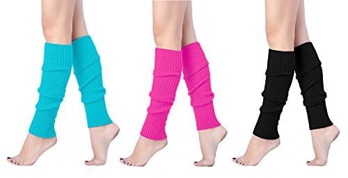 V28 Women Juniors 80s Eighty's Ribbed Leg Warmers for Party Sports (one size, 3pack(Lakeblue+Rose+Black)) -