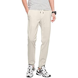 INFLATION Men's Stretchy Casual Jogger Pants, Blend Combed Cotton Formal Elastic Waist Trousers Dress Pants