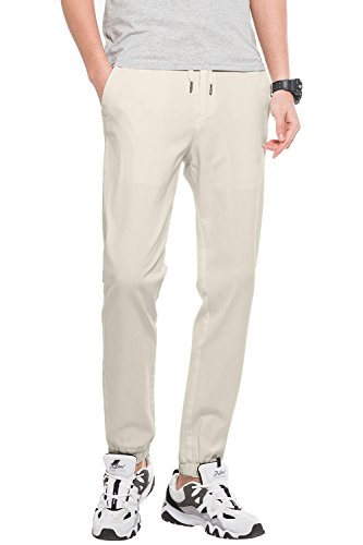 FLY HAWK Men's Slim Fit Chino Cotton Jogger Pants Flat Front Casual Twill Drawstring Stretchy Jogging Pants, 16 Colors