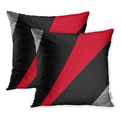(Emvency Set of 2 Decorative Throw Pillow Cover in Modern Abstract Style Black Red Gray Pillowcase Case Cushion Cover Size 18x18 inches 45x45cm Two Sided)