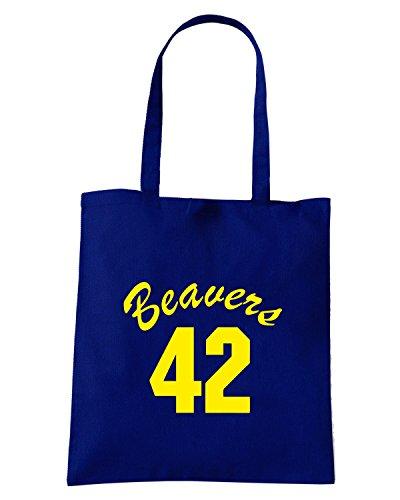 T-Shirtshock - Bolsa para la compra FUN0732 beavers teenwolf yel mens cu 4 1 Azul Marino